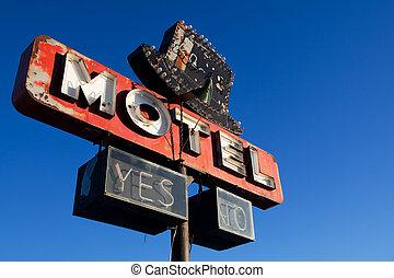 blå, motell, sky, retro, underteckna