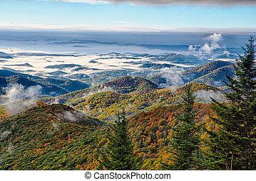 blå,  Mountains, Ås, scenisk, medborgare, Parkera, höst, Soluppgång,  parkway, landskap
