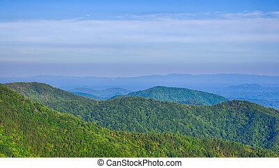 blå,  Mountains, Ås, sommar, scenisk, medborgare, Parkera, solnedgång,  parkway