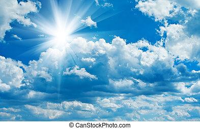blå, mulen himmel, med, sol
