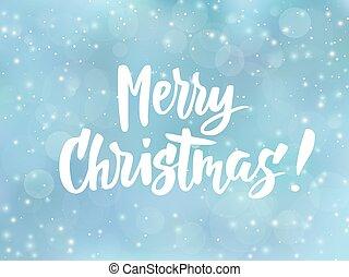 blå, munter, effect., text., quote., snö, suddig, hälsningar, bakgrund, stjärnfall, helgdag, jul