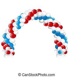 blå, närbild, gjord, båge, illustration., isolerat, bakgrund., vektor, vit, vit, sväller, tecknad film, röd