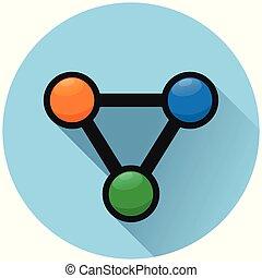 blå, nät, cirkel, begrepp, ikon