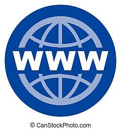 blå, nät, cirkel, ikon