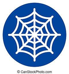 blå, nät, cirkel, spindel, ikon