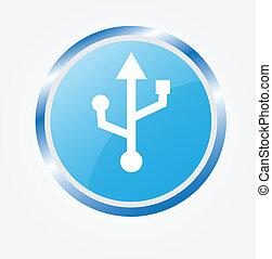 blå, nät, cirkel, usb, ikon