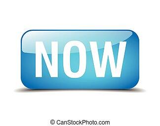 blå, nät, fyrkant, knapp, isolerat, realistisk, nu, 3