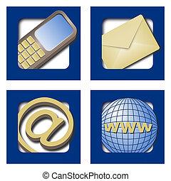 blå, nät ikon, kontakter, fyra, bakgrund