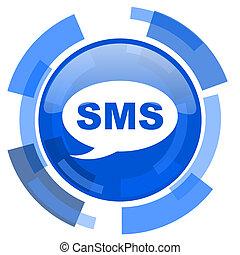 blå, nät, nymodig, sms, glatt, cirkel, ikon