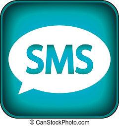 blå, nät, sms, ikon