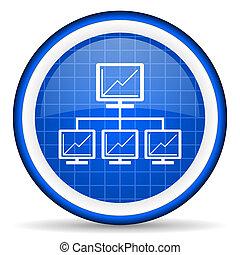 blå, nätverk, glatt, bakgrund, vit, ikon