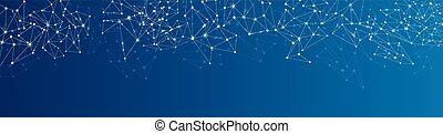blå, nätverk, social, bakgrund.