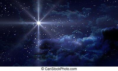 blå, natt, starry