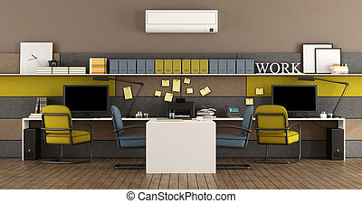 blå, nymodig, gul, kontor