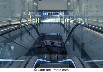blå, nymodig, rulltrappa, in, firma center