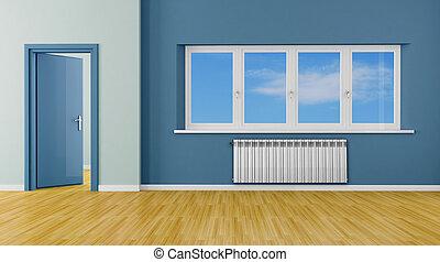 blå, nymodig rum, tom