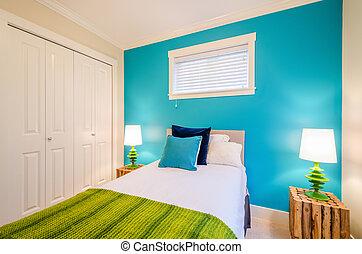 blå, nymodig, sovrum, interior.