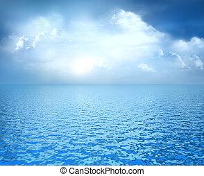 blå ocean, med, vita sky