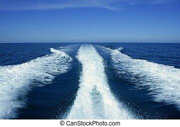 blå ocean, vakna, hav, vit, båt