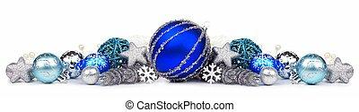 blå, och, silver, jul, gräns, isolerat, vita