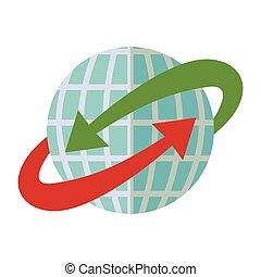blå, omkring, glob, grön, pil, värld, röd