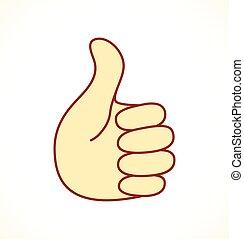 blå, oppe, tommelfinger, firma, ikon
