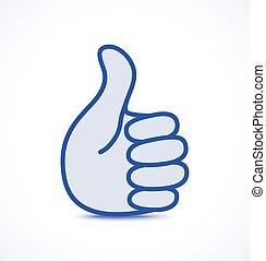 blå, oppe, tommelfinger, ikon