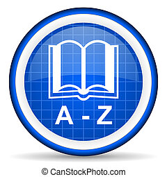 blå, ordbok, glatt, bakgrund, vit, ikon