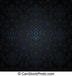 blå, ornamental, tyg, struktur, bakgrund, manchester