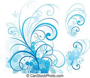 blå, ornamentere, scroll