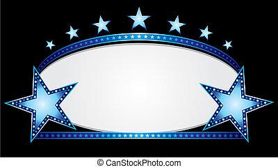 blå, oval