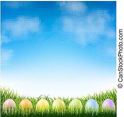 blå, påsk eggar, sky