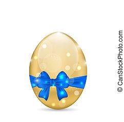 blå, påske, bøje sig, paschal, isoleret, baggrund, hvid ægg