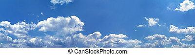 blå, panorama, himmel