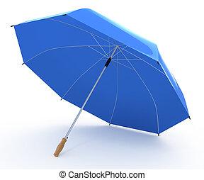 blå, paraply, öppnat