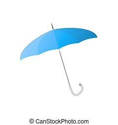 blå, paraply, metall, isolerat, illustration, tunn, käpp