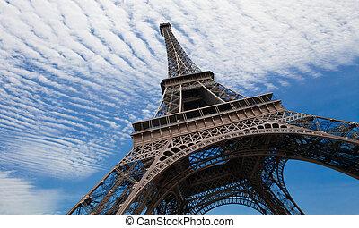 blå, paris, eiffel, sky, mot, torn
