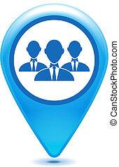 blå, pegepind, gruppe, forretningsmand