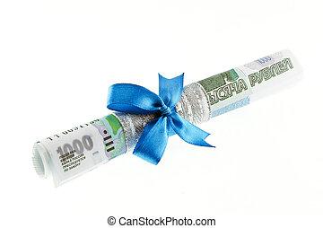 blå, pengar, bundet, gåva bocka