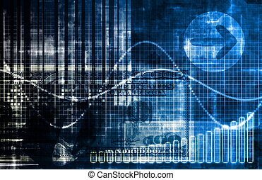 blå, penge, teknologi, firma, baggrund