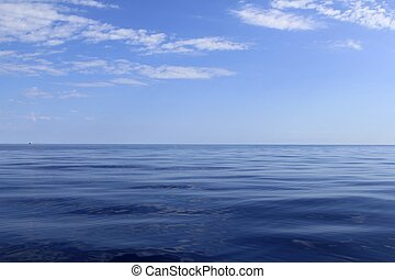blå, perfekt, hav, ocean, stillhet, horisont