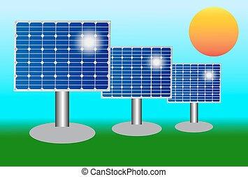 blå, photovoltaic, elektrisk, illustration, kisel, vektor, solar panel