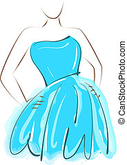 blå, pige, klæde, sketching