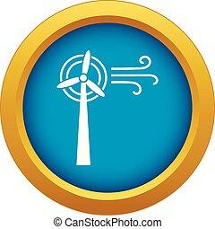 blå, plante, isoleret, vektor, turbine, vind, ikon
