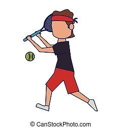 blå, plasyer, tennis, fodrar, boll, avatar, racket