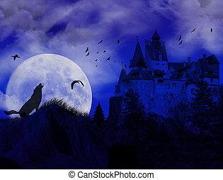 blå, plats, scarry, solnedgång