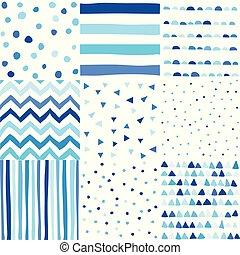 blå, pojke, sätta, färg, klotter, seamless, hand, mönster, baby, oavgjord, style.