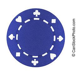 blå, poker skærv