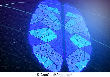 blå, polygonal, glødende, baggrund, hjerne