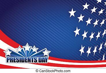 blå, præsidents, hvid, dag, rød